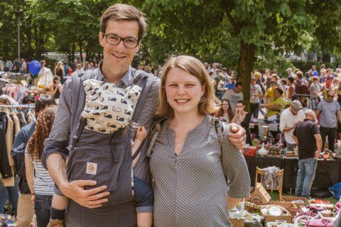 Frau Irina, Sohne Thilo und Martin Horn hatten eine schöne Zeit auf dem Flohmarkt im Stühlingerkirchpark.