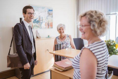 Begrüßung im Büro von Frau Lücke und Frau Unger. | 2. Juli 2018